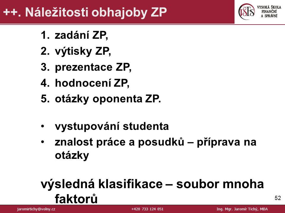 52 ++.Náležitosti obhajoby ZP jaromirtichy@volny.cz+420 733 124 051Ing.