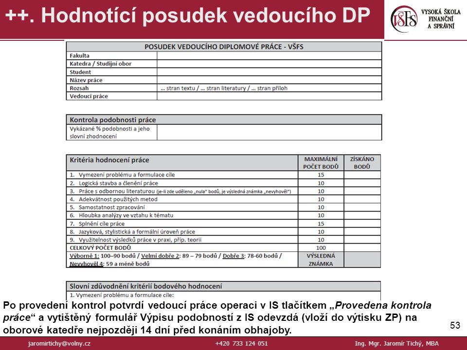 53 ++.Hodnotící posudek vedoucího DP jaromirtichy@volny.cz+420 733 124 051Ing.