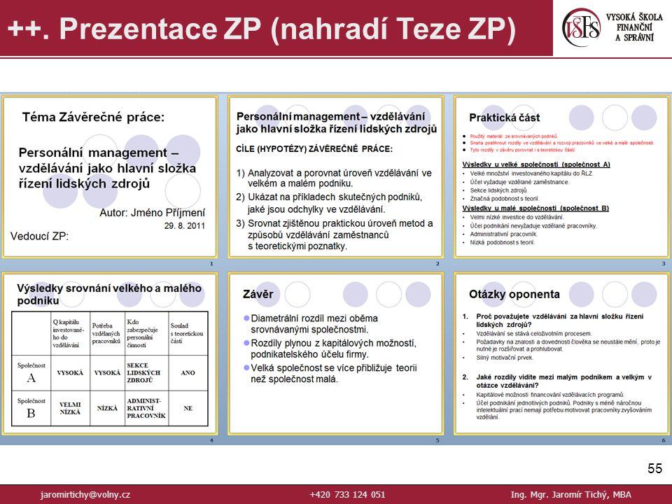 55 ++.Prezentace ZP (nahradí Teze ZP) jaromirtichy@volny.cz+420 733 124 051Ing.