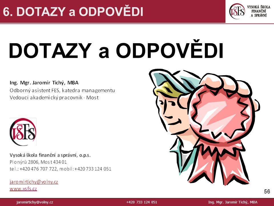 DOTAZY a ODPOVĚDI 56 6.DOTAZY a ODPOVĚDI jaromirtichy@volny.cz+420 733 124 051Ing.