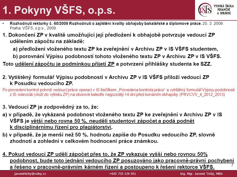 7 1.Pokyny VŠFS, o.p.s. jaromirtichy@volny.cz+420 733 124 051Ing.