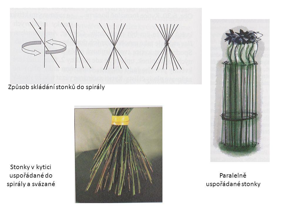 Způsob skládání stonků do spirály Stonky v kytici uspořádané do spirály a svázané Paralelně uspořádané stonky