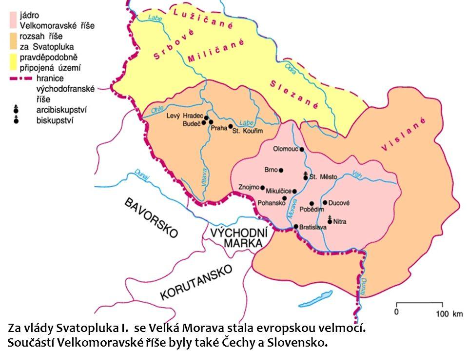 Za vlády Svatopluka I. se Velká Morava stala evropskou velmocí. Součástí Velkomoravské říše byly také Čechy a Slovensko.
