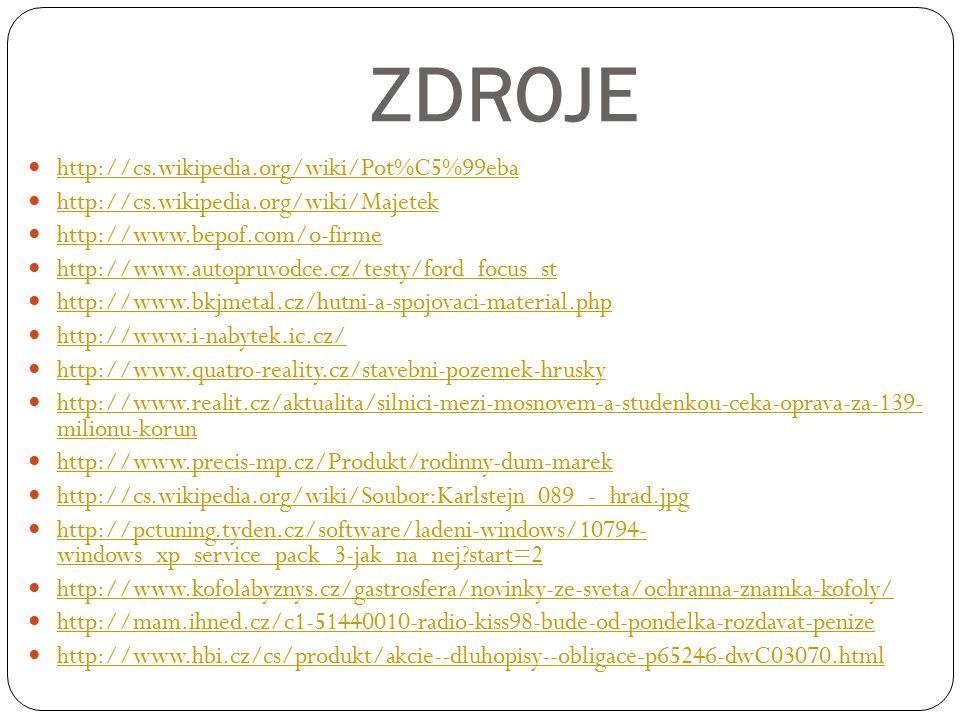 ZDROJE http://cs.wikipedia.org/wiki/Pot%C5%99eba http://cs.wikipedia.org/wiki/Majetek http://www.bepof.com/o-firme http://www.autopruvodce.cz/testy/ford_focus_st http://www.bkjmetal.cz/hutni-a-spojovaci-material.php http://www.i-nabytek.ic.cz/ http://www.quatro-reality.cz/stavebni-pozemek-hrusky http://www.realit.cz/aktualita/silnici-mezi-mosnovem-a-studenkou-ceka-oprava-za-139- milionu-korun http://www.realit.cz/aktualita/silnici-mezi-mosnovem-a-studenkou-ceka-oprava-za-139- milionu-korun http://www.precis-mp.cz/Produkt/rodinny-dum-marek http://cs.wikipedia.org/wiki/Soubor:Karlstejn_089_-_hrad.jpg http://pctuning.tyden.cz/software/ladeni-windows/10794- windows_xp_service_pack_3-jak_na_nej start=2 http://pctuning.tyden.cz/software/ladeni-windows/10794- windows_xp_service_pack_3-jak_na_nej start=2 http://www.kofolabyznys.cz/gastrosfera/novinky-ze-sveta/ochranna-znamka-kofoly/ http://mam.ihned.cz/c1-51440010-radio-kiss98-bude-od-pondelka-rozdavat-penize http://www.hbi.cz/cs/produkt/akcie--dluhopisy--obligace-p65246-dwC03070.html