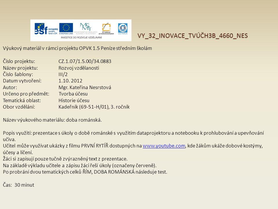 VY_32_INOVACE_TVÚČH3B_4660_NES Výukový materiál v rámci projektu OPVK 1.5 Peníze středním školám Číslo projektu:CZ.1.07/1.5.00/34.0883 Název projektu: