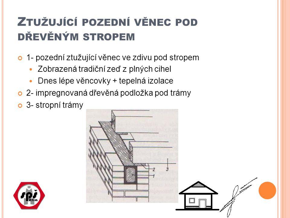 ÚKOL Nakreslete v příčném řezu detail železobetonového věnce pod dřevěným fošnovým stropem
