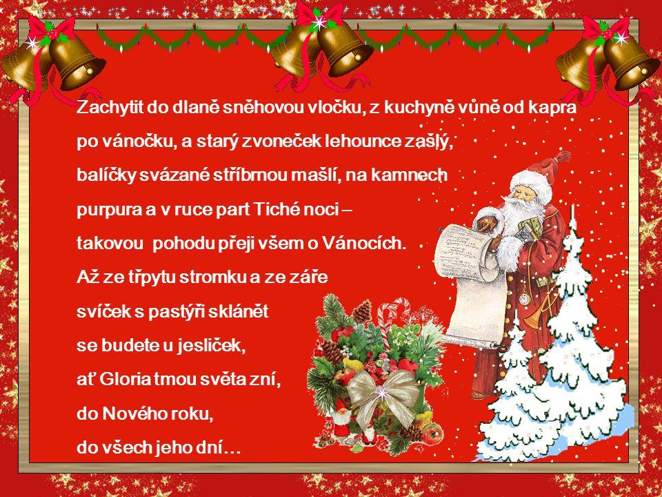 Zachytit do dlaně sněhovou vločku, z kuchyně vůně od kapra po vánočku, a starý zvoneček lehounce zašlý, balíčky svázané stříbrnou mašlí, na kamnech purpura a v ruce part Tiché noci – takovou pohodu přeji všem o Vánocích.
