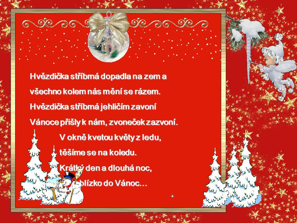 Zachytit do dlaně sněhovou vločku, z kuchyně vůně od kapra po vánočku, a starý zvoneček lehounce zašlý, balíčky svázané stříbrnou mašlí, na kamnech pu