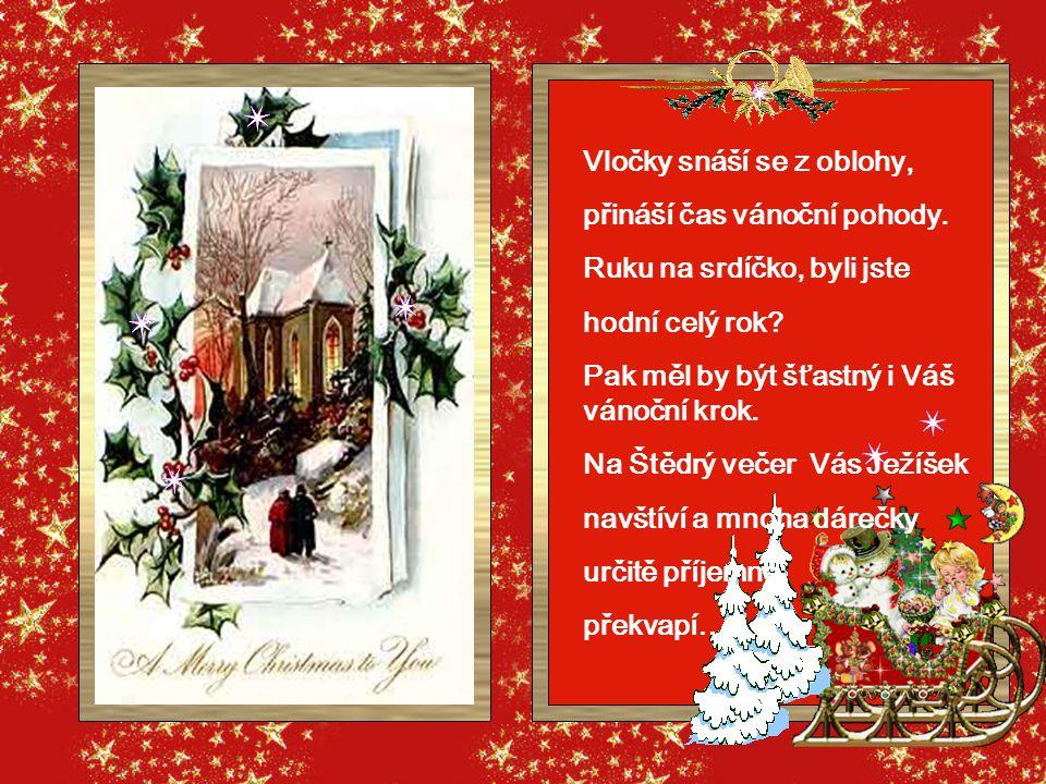 Vločky snáší se z oblohy, přináší čas vánoční pohody.