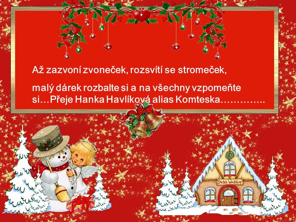 Až zazvoní zvoneček, rozsvítí se stromeček, malý dárek rozbalte si a na všechny vzpomeňte si…Přeje Hanka Havlíková alias Komteska…………..
