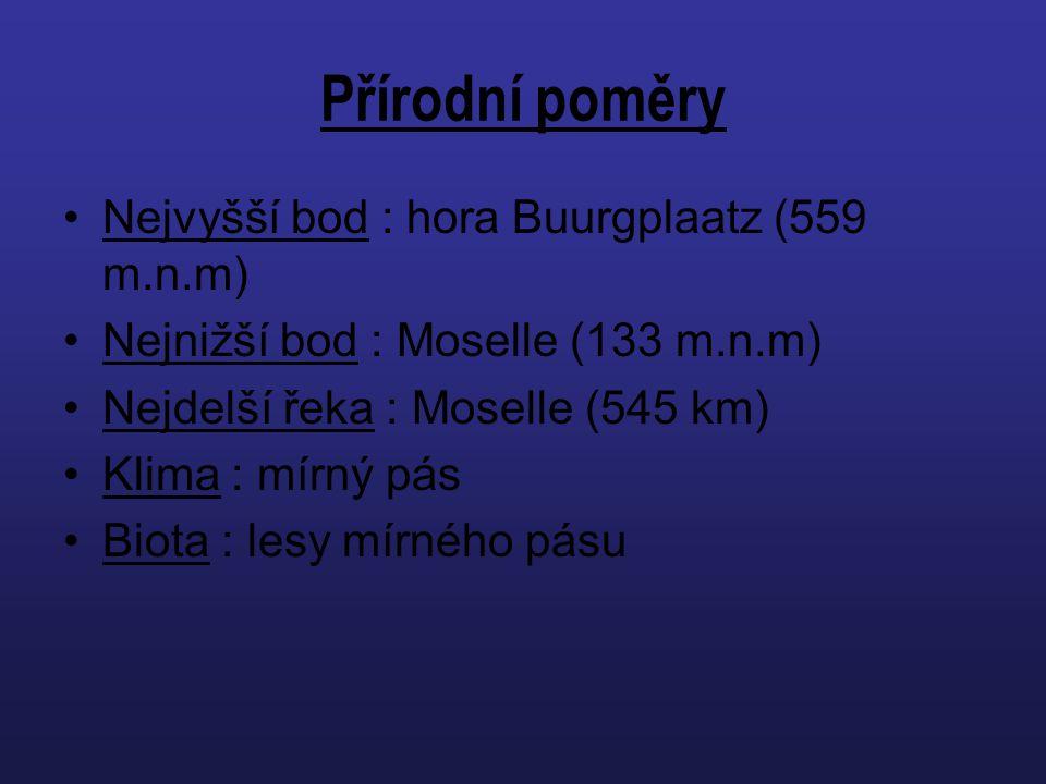 Přírodní poměry Nejvyšší bod : hora Buurgplaatz (559 m.n.m) Nejnižší bod : Moselle (133 m.n.m) Nejdelší řeka : Moselle (545 km) Klima : mírný pás Biot