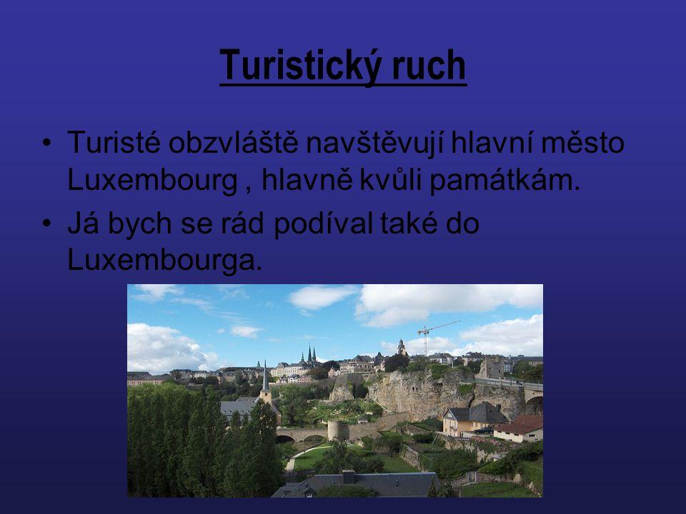 Turistický ruch Turisté obzvláště navštěvují hlavní město Luxembourg, hlavně kvůli památkám. Já bych se rád podíval také do Luxembourga.