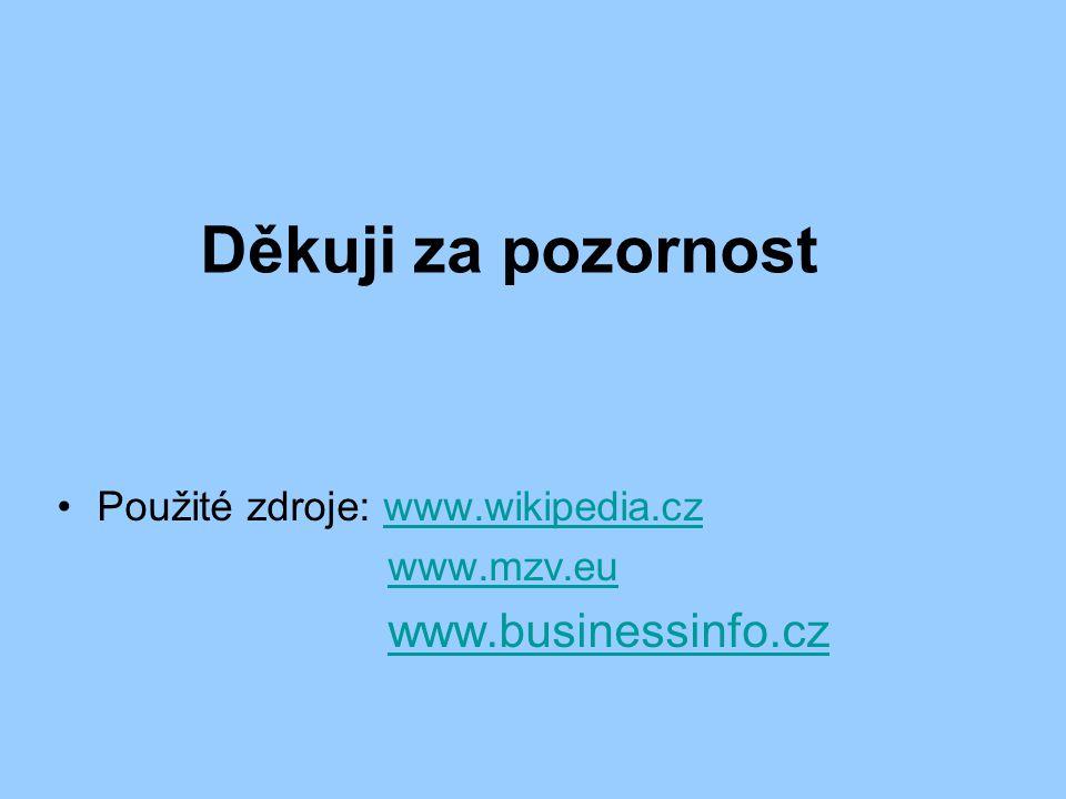 Děkuji za pozornost Použité zdroje: www.wikipedia.czwww.wikipedia.cz www.mzv.eu www.businessinfo.cz