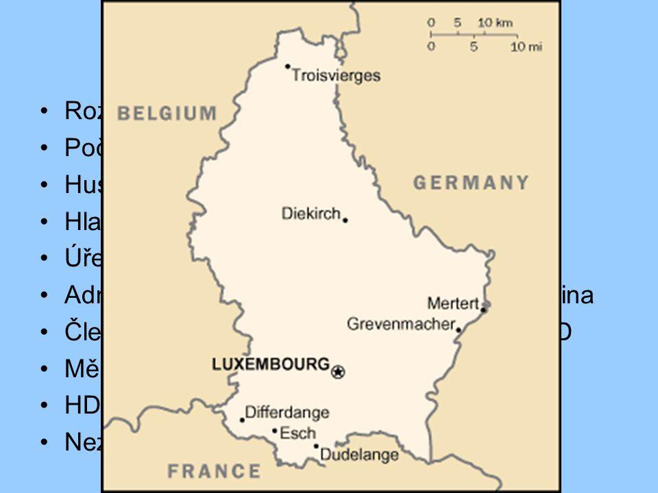 Základná údaje Rozloha - 2 586 km 2 Počet obyvatel - 462 690 ( 2008 ) Hustota osídlení - 184 ob./km 2 Hlavní město - Lucemburk (83 800 ob.) Úřední jazyk – lucemburština Administartivní jazyky - němčina, francouzština Členem EU, NATO, OSN, CE, OBSE, OECD Měna – EURO HDP – 55 600 USD/ob.