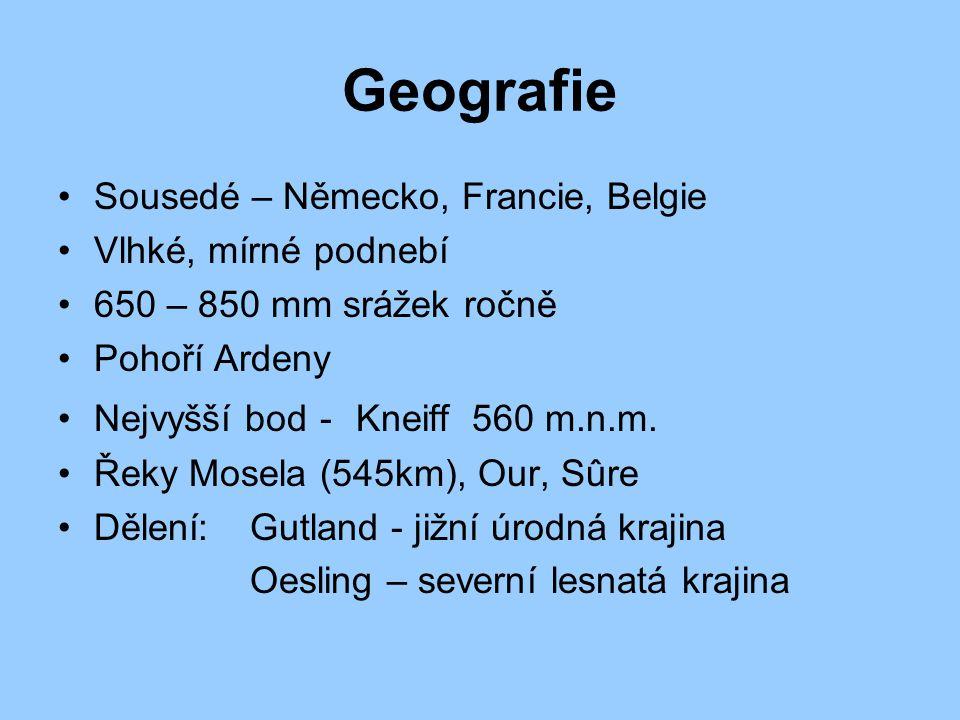 Geografie Sousedé – Německo, Francie, Belgie Vlhké, mírné podnebí 650 – 850 mm srážek ročně Pohoří Ardeny Nejvyšší bod - Kneiff 560 m.n.m. Řeky Mosela