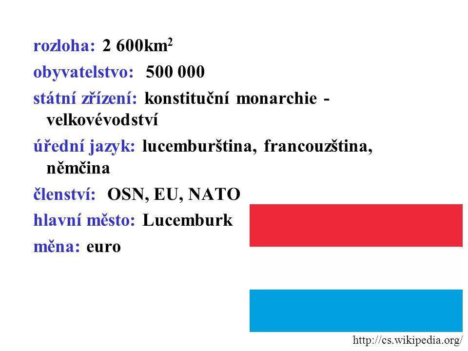 rozloha: 2 600km 2 obyvatelstvo: 500 000 státní zřízení: konstituční monarchie - velkovévodství úřední jazyk: lucemburština, francouzština, němčina členství: OSN, EU, NATO hlavní město: Lucemburk měna: euro http://cs.wikipedia.org/