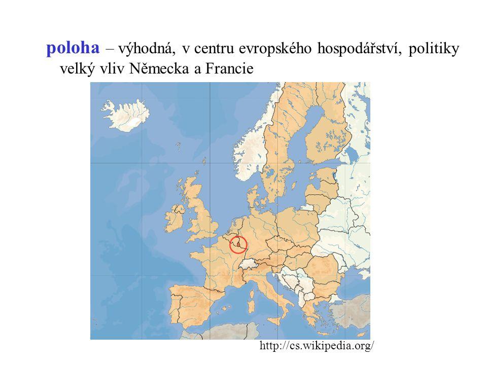 poloha – výhodná, v centru evropského hospodářství, politiky velký vliv Německa a Francie http://cs.wikipedia.org/