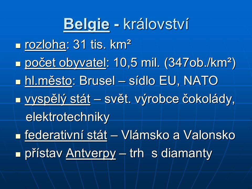 Belgie - království rozloha: 31 tis. km² rozloha: 31 tis.