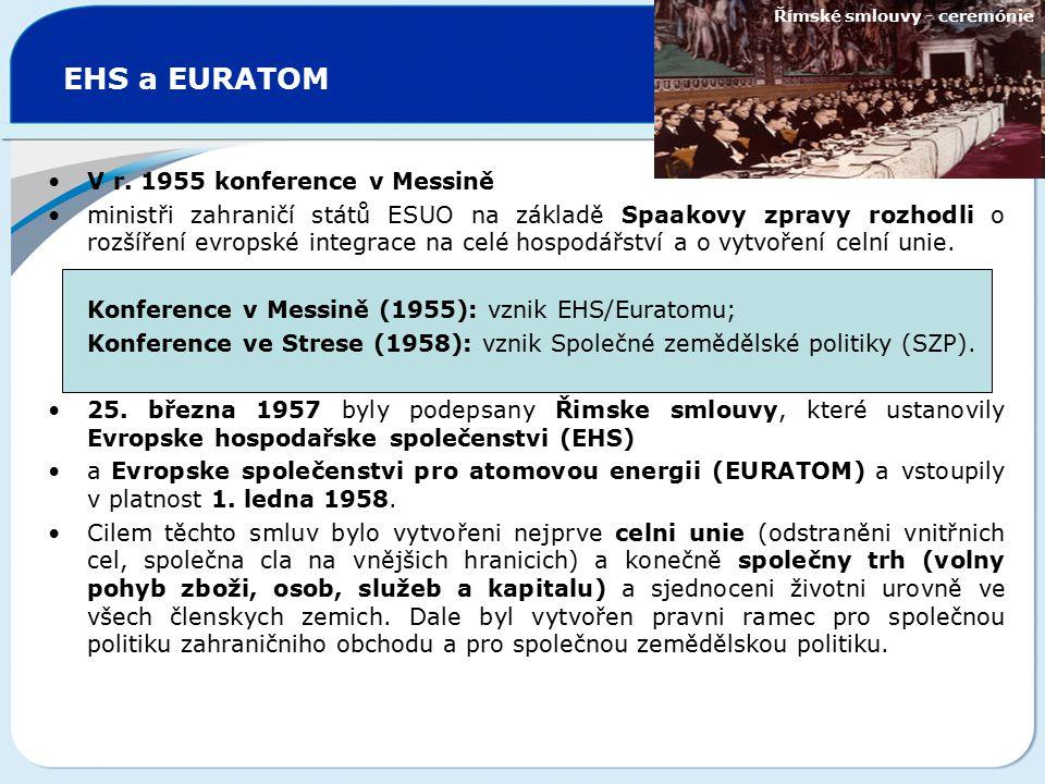 EHS a EURATOM V r. 1955 konference v Messině ministři zahraničí států ESUO na základě Spaakovy zpravy rozhodli o rozšíření evropské integrace na celé