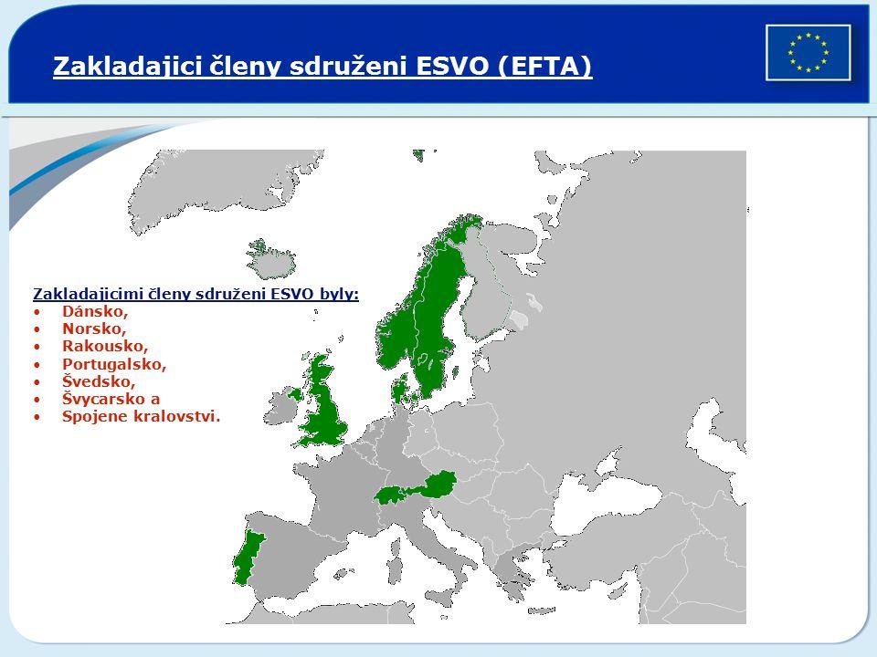 Zakladajici členy sdruženi ESVO (EFTA) Zakladajicimi členy sdruženi ESVO byly: Dánsko, Norsko, Rakousko, Portugalsko, Švedsko, Švycarsko a Spojene kra