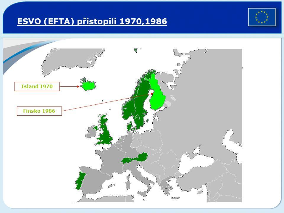 ESVO (EFTA) přistopili 1970,1986 Island 1970 Finsko 1986