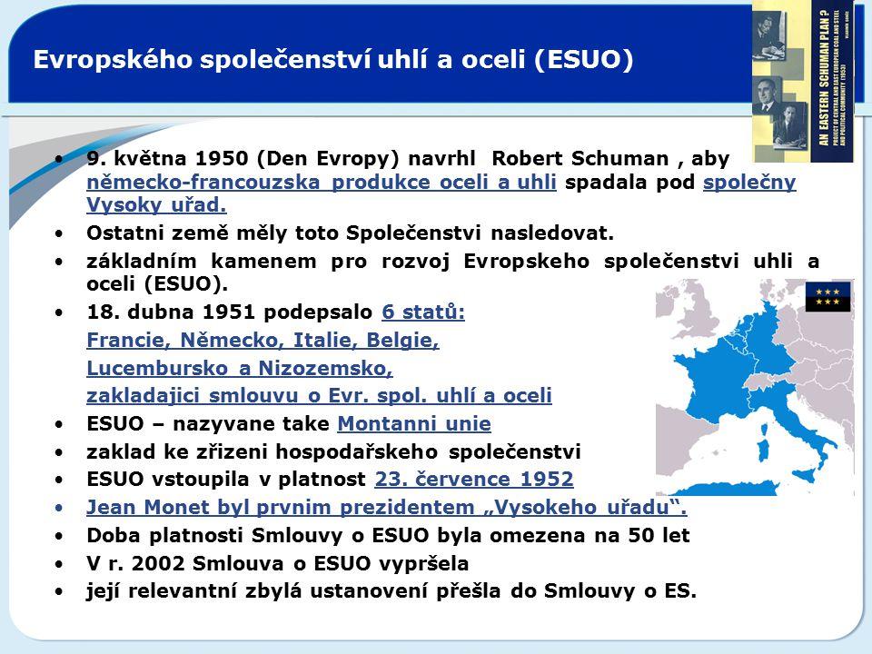 Evropského společenství uhlí a oceli (ESUO) Institucionální členění ESUO (Společenství zastupují následující instituce): Vysoký komisariát Shromáždění Rada Soud
