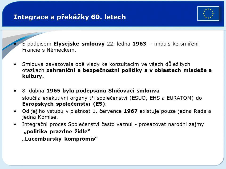 Integrace a překážky 60. letech S podpisem Elysejske smlouvy 22. ledna 1963 - impuls ke smiřeni Francie s Německem. Smlouva zavazovala obě vlady ke ko