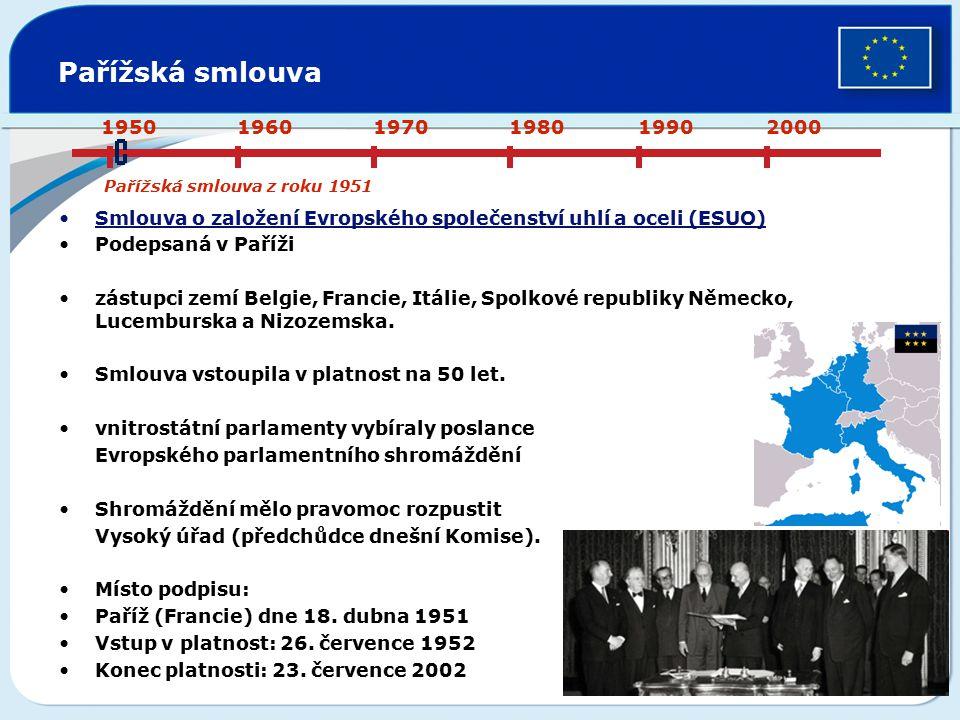 Pařížská smlouva Smlouva o založení Evropského společenství uhlí a oceli (ESUO) Podepsaná v Paříži zástupci zemí Belgie, Francie, Itálie, Spolkové rep