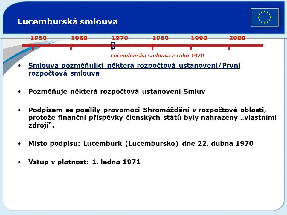 Lucemburská smlouva Smlouva pozměňující některá rozpočtová ustanovení/První rozpočtová smlouva Pozměňuje některá rozpočtová ustanovení Smluv Podpisem