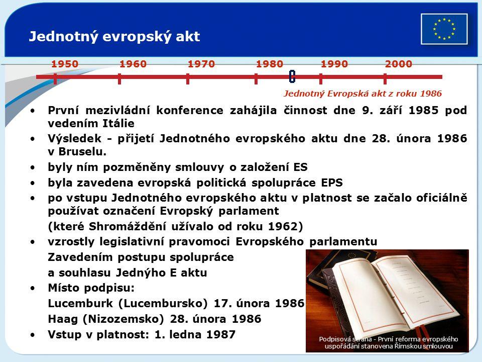 Jednotný evropský akt První mezivládní konference zahájila činnost dne 9. září 1985 pod vedením Itálie Výsledek - přijetí Jednotného evropského aktu d