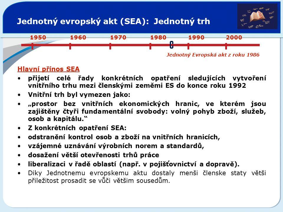 Jednotný evropský akt (SEA): Jednotný trh Hlavní přínos SEA přijetí celé řady konkrétních opatření sledujících vytvoření vnitřního trhu mezi členskými