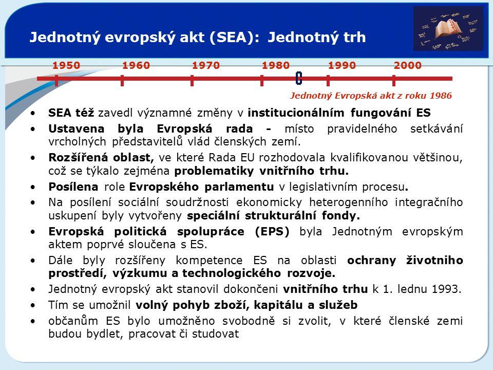 Jednotný evropský akt (SEA): Jednotný trh SEA též zavedl významné změny v institucionálním fungování ES Ustavena byla Evropská rada - místo pravidelné