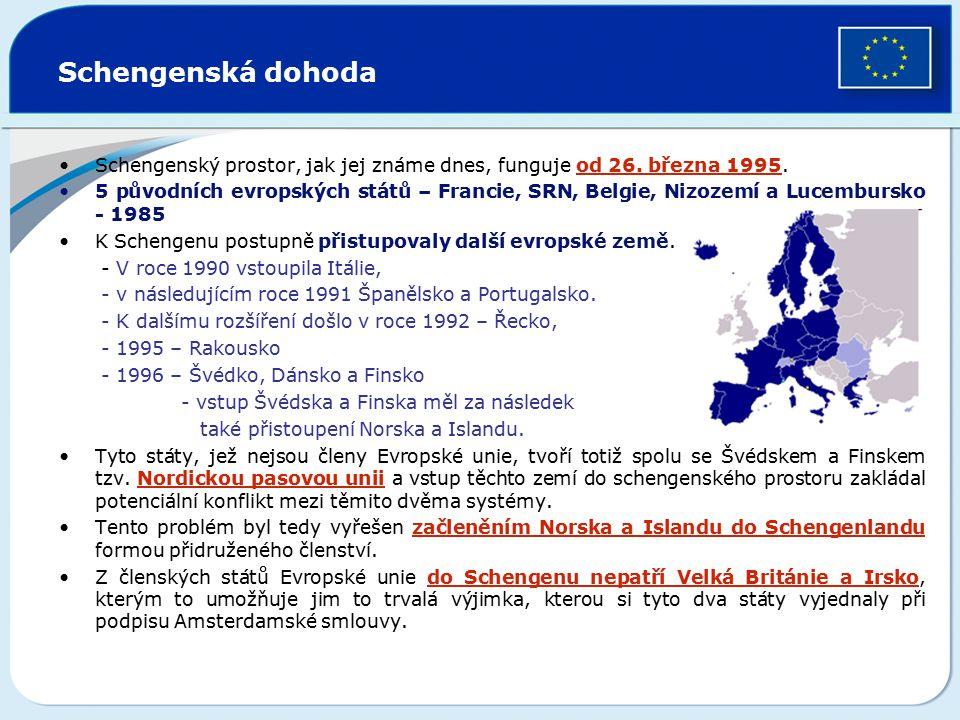 Schengenská dohoda Schengenský prostor, jak jej známe dnes, funguje od 26. března 1995. 5 původních evropských států – Francie, SRN, Belgie, Nizozemí