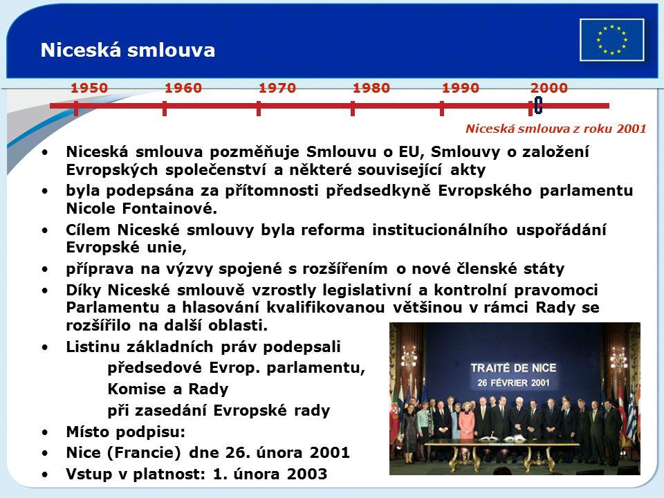 Niceská smlouva Niceská smlouva pozměňuje Smlouvu o EU, Smlouvy o založení Evropských společenství a některé související akty byla podepsána za přítom
