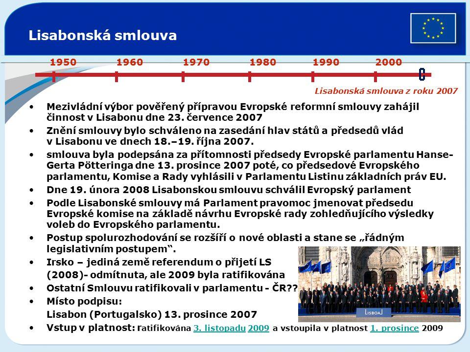 Lisabonská smlouva Mezivládní výbor pověřený přípravou Evropské reformní smlouvy zahájil činnost v Lisabonu dne 23. července 2007 Znění smlouvy bylo s