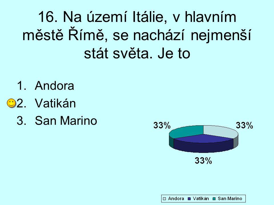 16. Na území Itálie, v hlavním městě Římě, se nachází nejmenší stát světa. Je to 1.Andora 2.Vatikán 3.San Marino