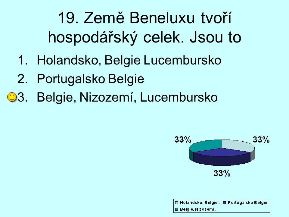 19. Země Beneluxu tvoří hospodářský celek. Jsou to 1.Holandsko, Belgie Lucembursko 2.Portugalsko Belgie 3.Belgie, Nizozemí, Lucembursko