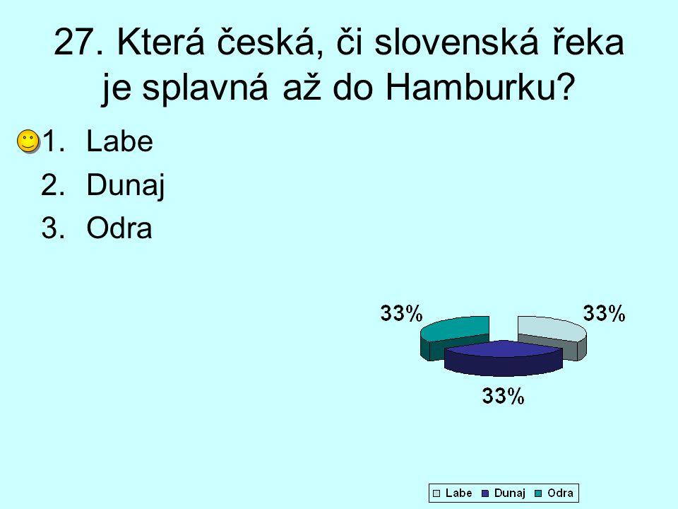27. Která česká, či slovenská řeka je splavná až do Hamburku? 1.Labe 2.Dunaj 3.Odra