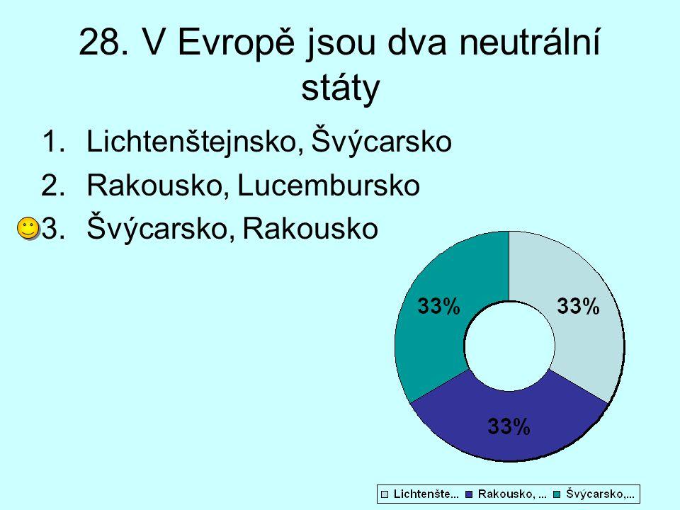 28. V Evropě jsou dva neutrální státy 1.Lichtenštejnsko, Švýcarsko 2.Rakousko, Lucembursko 3.Švýcarsko, Rakousko