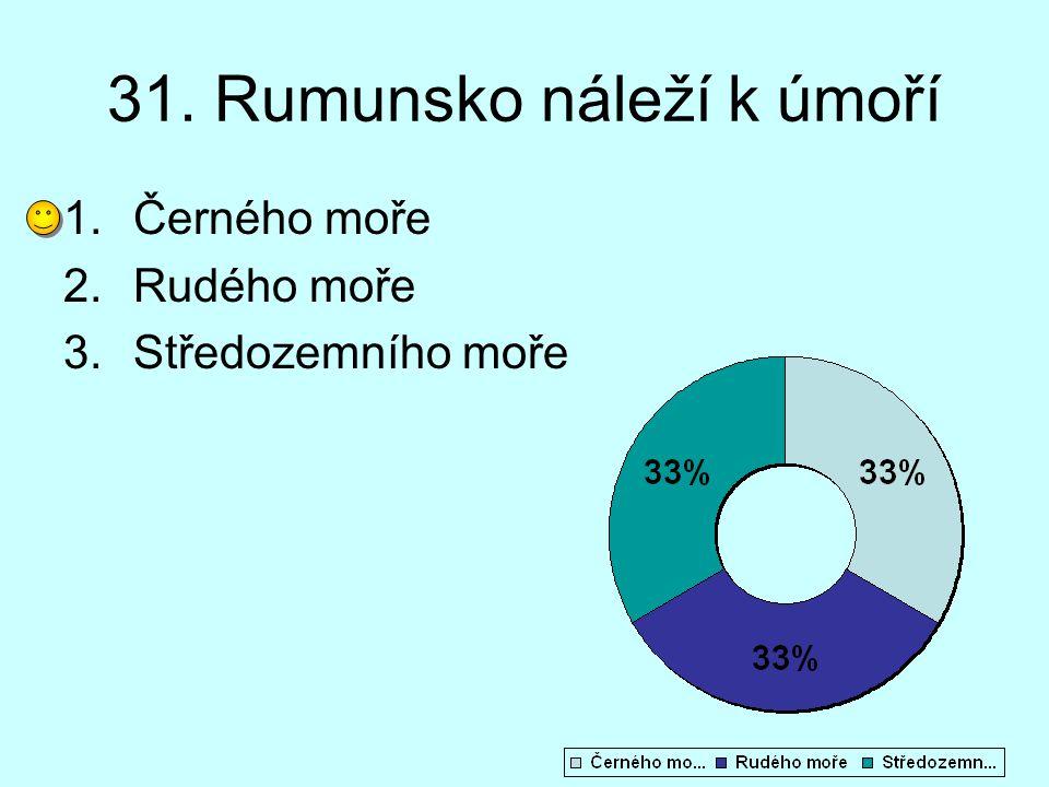 31. Rumunsko náleží k úmoří 1.Černého moře 2.Rudého moře 3.Středozemního moře