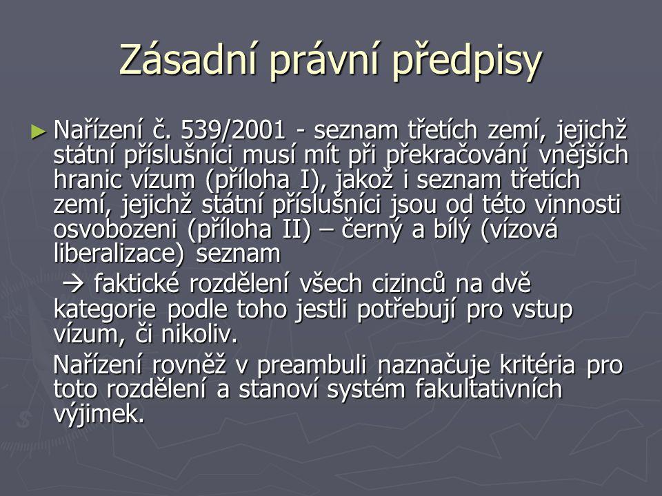 Zásadní právní předpisy ► Nařízení č. 539/2001 - seznam třetích zemí, jejichž státní příslušníci musí mít při překračování vnějších hranic vízum (příl