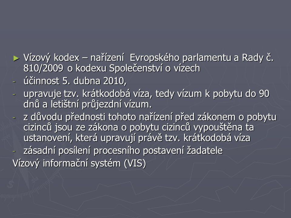 ► Vízový kodex – nařízení Evropského parlamentu a Rady č. 810/2009 o kodexu Společenství o vízech - účinnost 5. dubna 2010, - upravuje tzv. krátkodobá