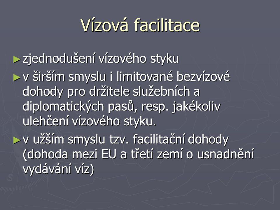 Vízová facilitace ► zjednodušení vízového styku ► v širším smyslu i limitované bezvízové dohody pro držitele služebních a diplomatických pasů, resp. j