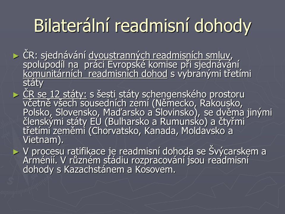 Bilaterální readmisní dohody ► ČR: sjednávání dvoustranných readmisních smluv, spolupodíl na práci Evropské komise při sjednávání komunitárních readmi