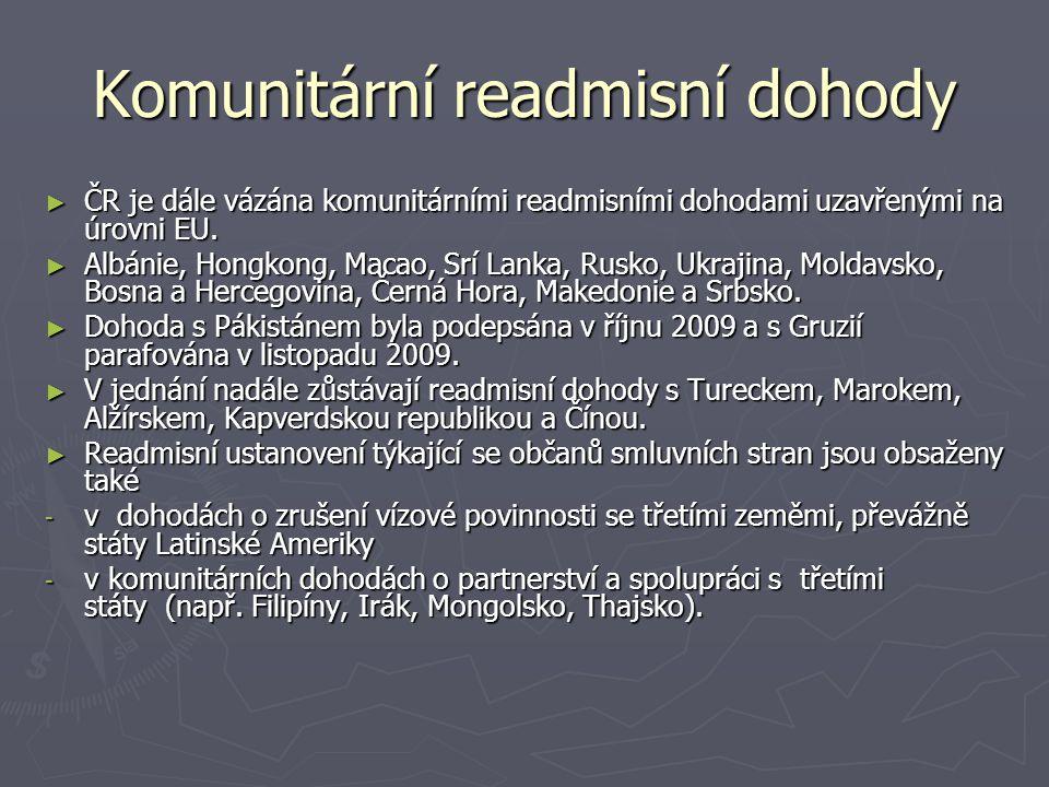 Komunitární readmisní dohody ► ČR je dále vázána komunitárními readmisními dohodami uzavřenými na úrovni EU. ► Albánie, Hongkong, Macao, Srí Lanka, Ru