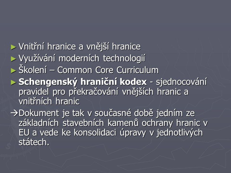 ► Vnitřní hranice a vnější hranice ► Využívání moderních technologií ► Školení – Common Core Curriculum ► Schengenský hraniční kodex - sjednocování pr