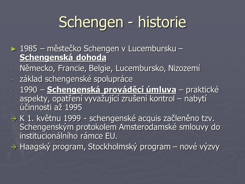 Schengen - historie ► 1985 – městečko Schengen v Lucembursku – Schengenská dohoda - Německo, Francie, Belgie, Lucembursko, Nizozemí - základ schengens