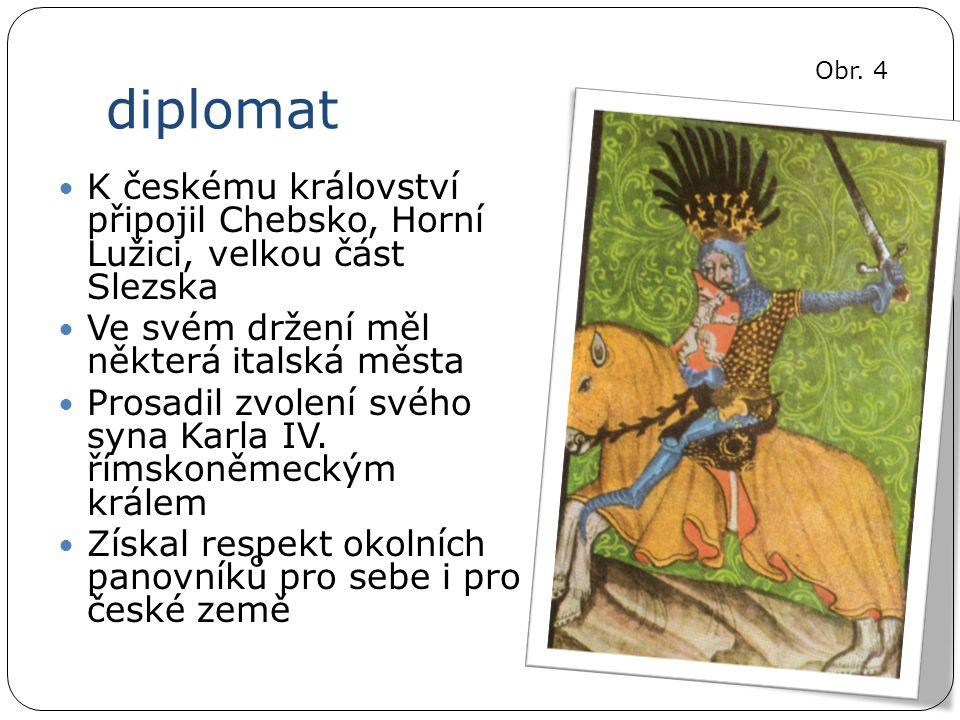 diplomat K českému království připojil Chebsko, Horní Lužici, velkou část Slezska Ve svém držení měl některá italská města Prosadil zvolení svého syna Karla IV.