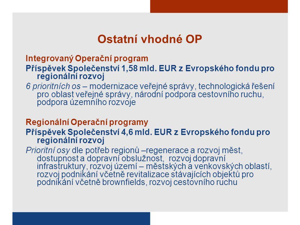 Ostatní vhodné OP Integrovaný Operační program Příspěvek Společenství 1,58 mld. EUR z Evropského fondu pro regionální rozvoj 6 prioritních os – modern