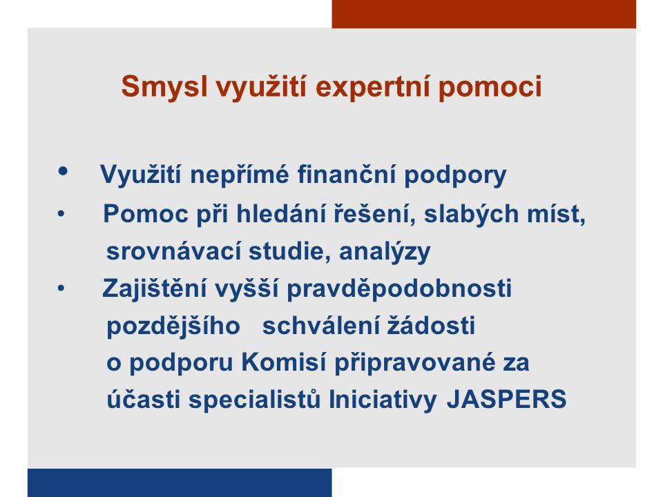 Smysl využití expertní pomoci Využití nepřímé finanční podpory Pomoc při hledání řešení, slabých míst, srovnávací studie, analýzy Zajištění vyšší prav